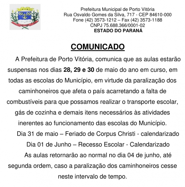 COMUNICADO SOBRE AS AULAS